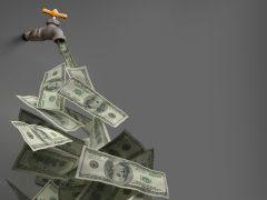 3D illustration of money coming out of a metal faucet.