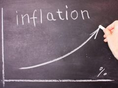 Word and graph of rising inflation written chalk on a blackboard